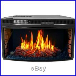 33 BLACK ELECTRIC FIREBOX FIREPLACE HEATER INSERT FLAT GLASS PANEL With REMOTE