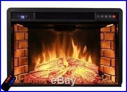 33 Black Electric Firebox Fireplace Heater Insert flat Glass Panel W Remote
