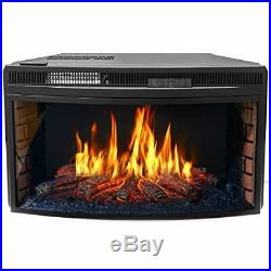 33 Curved Ventless Electric Heater Fireplace Insert Wood Fireplace Wall Mounted