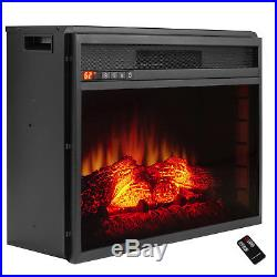 33 Electric Fireplace Freestanding Insert Heater Orange Flames with Logs & Remote