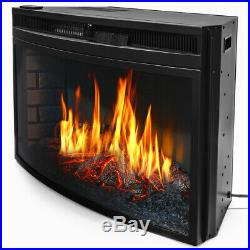 33 Electric Fireplace Heater Insert LED Flames Glass Panel Adjustable Heat Home