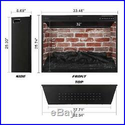 33 Electric Fireplace Insert Recessed in Wall Freestanding Heater Large Screen