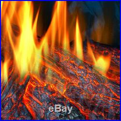 33 Electric Insert Fireplace Heater Firebox Glass Panel Adjustable with Remote