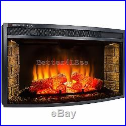 33 Freestanding Electric Fireplace Insert Heater with Tempered Glass and Remote