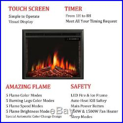 33 Freestanding & Recessed Electric Fireplace Insert, Remote Control, 750W-1500W