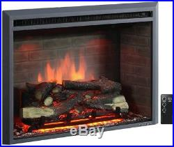 33 Inch Embedded Electric Firebox Heater With Remote Control Black Insert