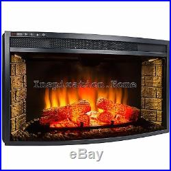 33 Insert Freestanding 4 Setting Adjustable Electric Fireplace Heater with Remote