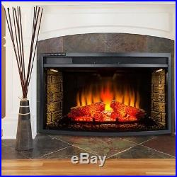33 in. Freestanding Electric Fireplace Insert Heater Curved Glass Remote Control
