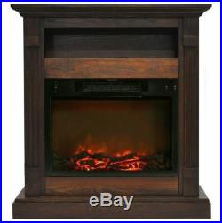 34 In. Electric Fireplace with 1500W Log Insert and Walnut Mantel
