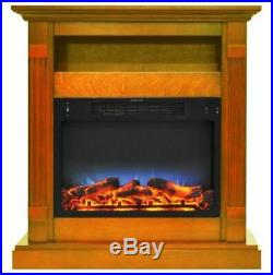 34 In. Electric Fireplace with Multi-Color LED Insert and Teak Mantel
