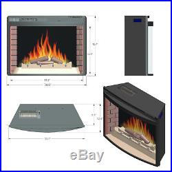 35 Black Freestanding Insert 22 Setting Log Electric Fireplace Heater with Remote