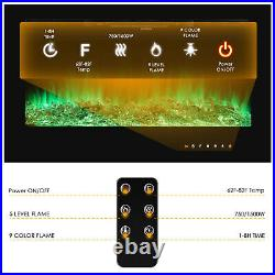 361500W Fireplace Electric Embedded Insert Heater Glass Log Flame Remote Contrl