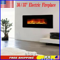 36Embedded Electric Fireplace Insert Remote Heater Adjustable Flame 1400W Black