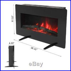 36 1400W Electric Fireplace Heater Wall Insert Freestanding Remote Black