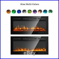 36''/40''/50''/60''Electric Fireplace Insert Heater Recessed Wall Mounted Remote