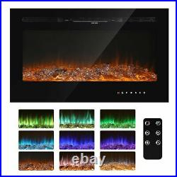 36 40 50 60 Electric Fireplace Recessed Insert Wall Mounted Low Noise Heater US