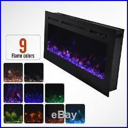 36''/40''/50'' Electric Fireplace Insert Heater Recessed Wall Mounted Remote US