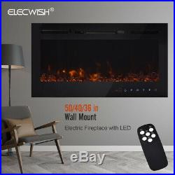 36 / 40 / 50 Electric Fireplace Recess Insert Wall Mount Touch Screen Remote