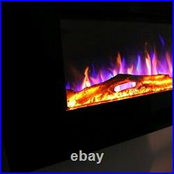 36/42/50 in-Wall Recessed Mount Electric Fireplace Insert LED Flame Fire Heater