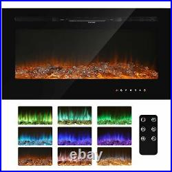 36''/50''Electric Fireplace Insert Heater Recessed Wall Mounted Remote Flame New