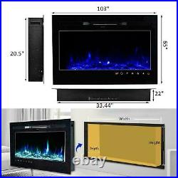 36/50 Electric Fireplace Recessed Insert OR Wall Mounted Heater Adjustable US