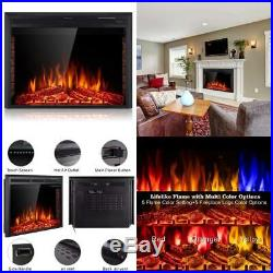 36 Electric Fireplace Insert Freestanding& Recessed Built in Fireplace LED US