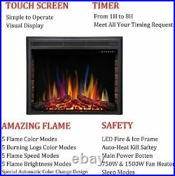 36 Electric Fireplace Insert, Recessed Electric Stove Heater, Touch Screen