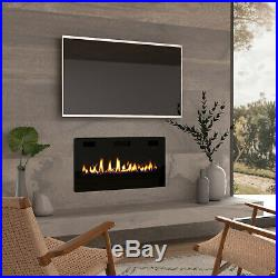 36 Electric Fireplace Insert, Wall Mounted/In Wall 3.86 Ultra Thin 750/1500W
