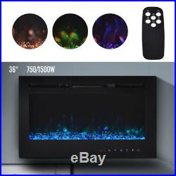 36 Electric Fireplace Recessed insert Wall Mount Heater 3D Flame Log with Remote