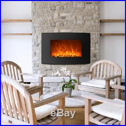 36 Embedded Electric Fireplace Insert Heater Remote Pebble Fuel Log Fire Flame