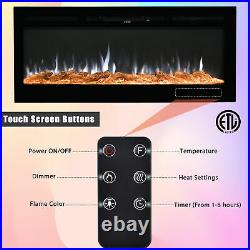 36 Embedded Fireplace Electric Insert Heater Glass 1500w Log Flame Remote Home