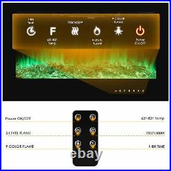 36'' Embedded Insert Fireplace Electric Heater Glass Log Flame View Remote