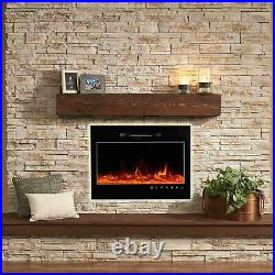 36 Fireplace Electric Embedded Insert Heater Glass Log Flame Remote