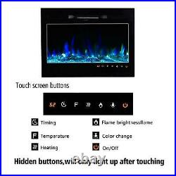 36 Fireplace Electric Embedded Insert Heater Glass Log Flame +Remote Control
