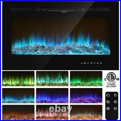 36'' Fireplace Electric Embedded Insert Heater Glass View Log Flame Remote New