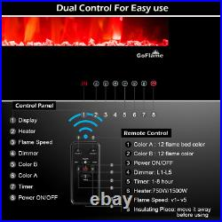 36 Inch Recessed And Wall Mounted Electric Fireplace Insert With Realistic Flame