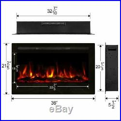 36 Recessed Mounted Electric Fireplace Insert withTouch Screen Control Panel