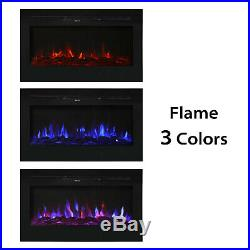 36 Recessed Mounted Electric Fireplace Insert with Touch Screen Adjustable Flame
