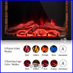 36 Remote Control 750W-1500W Electric Fireplace Insert Wall Mounted Energy Save