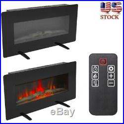 36'' Wall Electric Fireplace Insert Log Flame Remote Control Warm heater Safe
