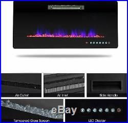 36 Wall Mounted Insert Electric Fireplace Heater LED Flame with Remote Control