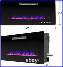 36 Wall Mounted Insert Electric Fireplace Heater with Remote Control 750With1500W