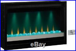 36 in. Built-in Electric Fireplace Insert Heater LED Flame Heating Remote Glass