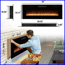 36 inches Electric Fireplace Insert, Wall Mounted Heater with Remote 36