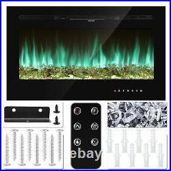 36in Electric Fireplace Recessed / Wall Mount Insert Heater Multicolor Flame US
