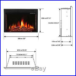 39inch Freestanding&Recessed Electric Fireplace Insert, Remote Control, 750W-1500W