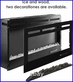 40Electric Fireplace Recessed insert Wall Mounted Heater W /Log or Crystals Set