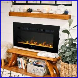 40'' Electric Fireplace Insert Electric Heater Wall Mounted Touch Screen 1500W