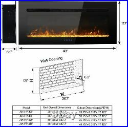 40'' Electric Fireplace Insert Wall Mounted Electric Heater Touch Screen 1500W
