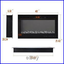 40 Electric Fireplace Recessed Insert Wall Mount Heater 3D Flame Log withRemote